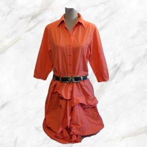 Dresses & Skirts - Orange Midi Puffer Dress